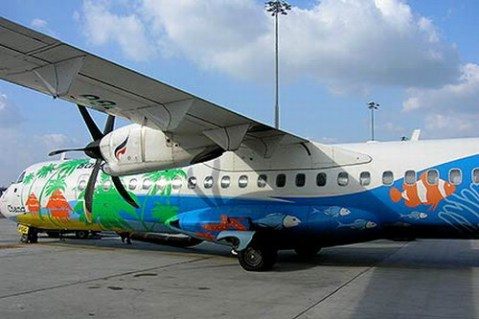 The Bangkok Airways plane parking in Sukhothai.