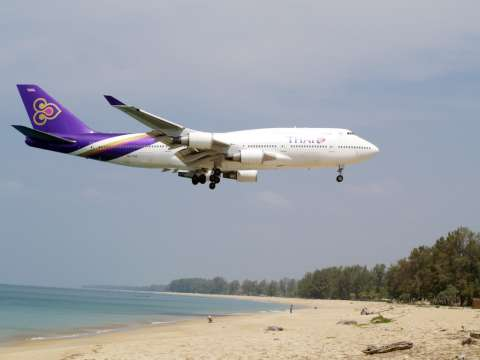 Thai Airlines Airplane prepare randing to Phuket International Airport