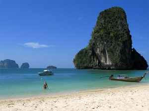 Railay Beach peninsula located between the city of Krabi and Ao Nang