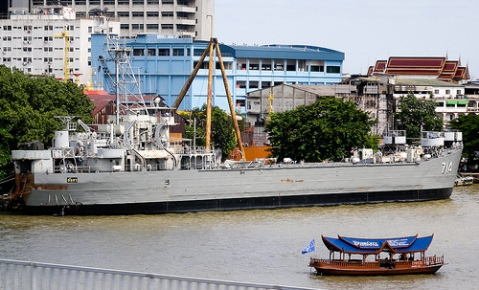 Royal Thai Navy Landing ship tank HMTS Lanta berthed on the Chao Praya River It was launched in 1945 as the USS Stone County (LST-1141)