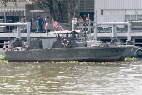 Royal Thai Navy patrol boats on the Chao Praya River, Bangkok