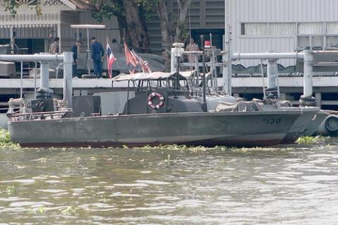 Royal Thai Navy patrol boats on the Chao Praya River, Bangkok