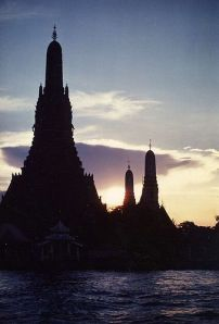 Wat Arun at sunset in Bangkok Thailand